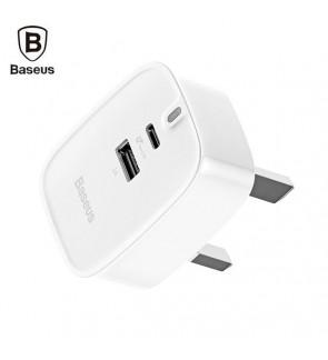 BASEUS USB + Type-C Fast Charge Adapter Hub Travel Wall Charger Funzi Type-C PD 3.0 + USB 30W (White)