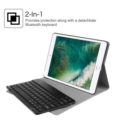 iPad Case with Smart Wireless Bluetooth Keyboard for iPad Pro 9.7 / iPad 9.7 2018 / 2017 / iPad Air 2 / iPad Air - Slim Premium PU Leather Shell Stand Cover with Magnetic Detachable Keyboard for iPad 6th / 5th Gen