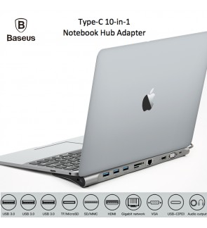 BASEUS Type C Notebook Hub Adapter 10 in 1 Multiport USB-C Enjoyment Series Laptop Port with 1080P HDMI 1000Mbps LAN SD TF PD VGA 3 x USB3.0 Audio for MacBook