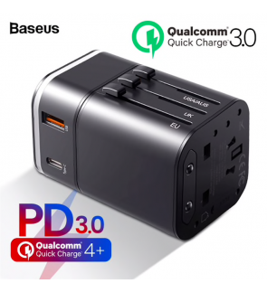 BASEUS Quick Charge 3.0 Removable 2-in-1 USB Charger Universal Travel Adapter USB C PD QC QC3.0 Fast Charging Power Delivery International Plug Socket