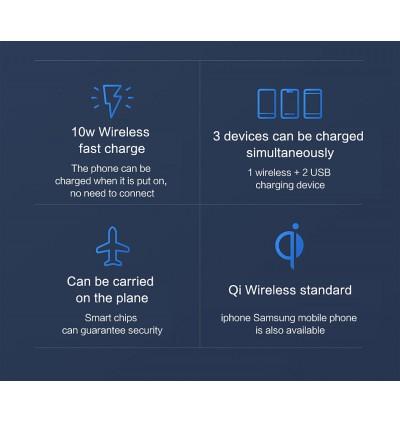 [ORIGINAL] XIAOMI Mi Wireless Powerbank 10000mAh USB Type-C Fast Charging 10W Qi Wireless Power Bank Charger PLM11ZM