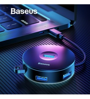 [ORIGINAL] BASEUS Round Box Hub Adapter 4-in-1 USB Port with USB 3.0 for Mac OS, Windows, Google, Linux