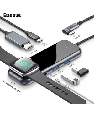 BASEUS 6-in-1 Mirror Series Multifunctional USB Hub Type C to HDMI RJ45 USB 3.0 Apple iWatch Charger Wireless Charging Power Adapter For MacBook Pro Air Dock 3 Port USB-C USB HUB Splitter Hab