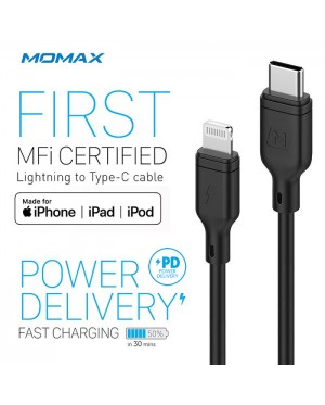 MOMAX ZERO Lightning to Type-C Cable Apple MFI Certified 1.2M Power Delivery Fast Charging Syncing Cord DL36 Compatible with iPhone Xs XS MAX XR X 8 8 Plus 7 7 Plus MacBook