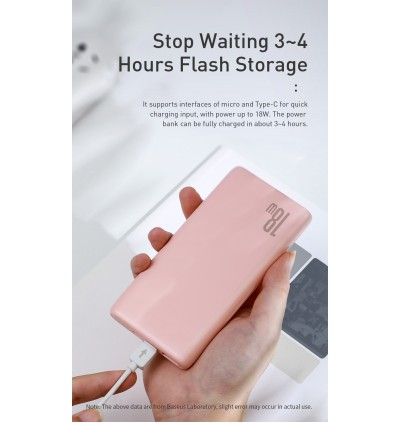 BASEUS 18W BiPow 10000mAh USB C PD + QC Slim Power Bank Type C Portable Charger with Power Delivery QC 3.0 Fast Dual Output & Dual Input for Smartphones & Tablets