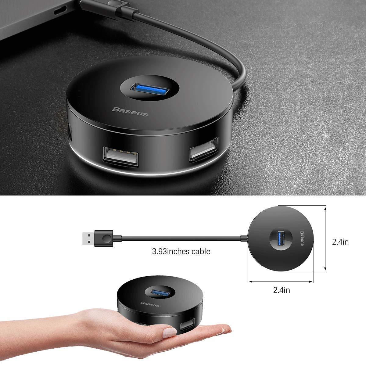 ORIGINAL] BASEUS Round Box Hub Adapter 4-in-1 USB Port with USB 3.0 for Mac  OS, Windows, Google, Linux
